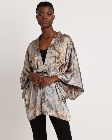 Lisp Kimono Satin Tie Dye