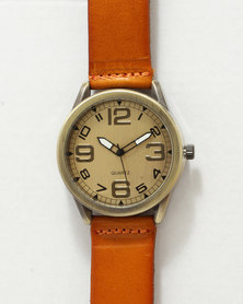 You & I Leatherette Strap Watch Tan