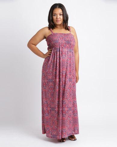 Utopia Plus Ethnic Print Maxi Boobtube Dress Multi