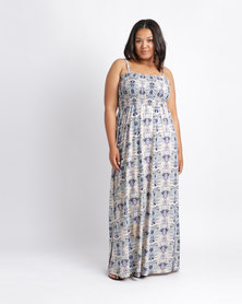 Utopia Plus Blues Printed Maxi Boobtube Dress Multi