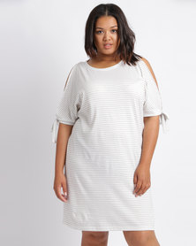 Utopia Plus Stripe T-Shirt Dress With Tie Sleeve Grey and White