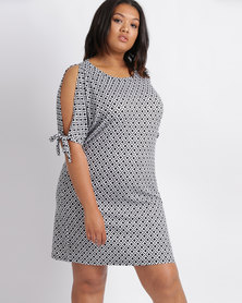 Utopia Plus Geo Print T-Shirt Dress With Tie Sleeve Black and White