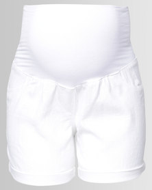 Cherry Melon Linen Shorts White