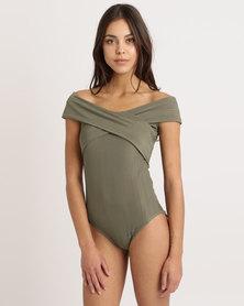 Paige Smith Cross Bodysuit Khaki