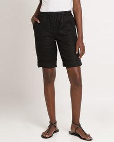 Yarra Trail Tab Hem Linen Short Black