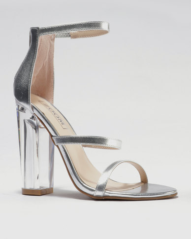 ZOOM Dominique Clear Heel Sandal Silver