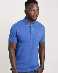 Polo Mens Custom Fit Short Sleeve Pique Golfer Blue