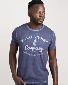 Polo Mens Printed Pigmented Wash Tee Navy
