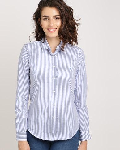 Polo Ladies Kyla Long Sleeve Striped Shirt Blue  fc404cee4