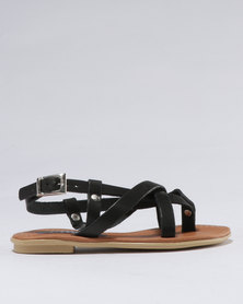 Utopia Girls Leather Sandal Black