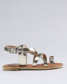 Utopia Girls Leather Sandal Gold
