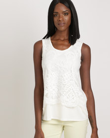 Queenspark Beautiful Knit Cami Cream
