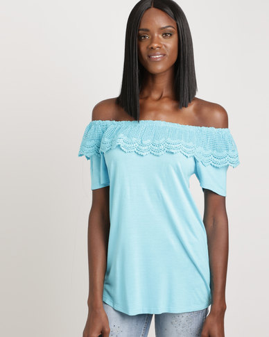 Queenspark Core Knit With Marilyn Neckline With Lace Top Aqua Blue