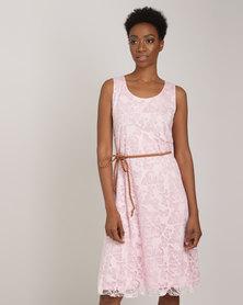 Queenspark Butterfly Burnout Knit Dress Pink