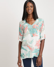 Queenspark The Spy Who Loved Me 3/4 Sleeve Woven Blouse Multicoloured