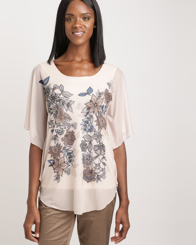 Queenspark Floral Mesh Knit Top Natural