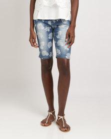 Queenspark Rose Diamond Woven Denim Shorts Blue