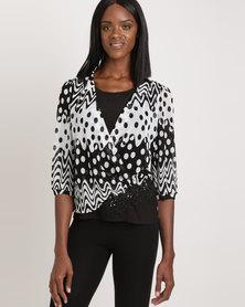 Queenspark Spot Sensation Crossover Knit Top Black & White