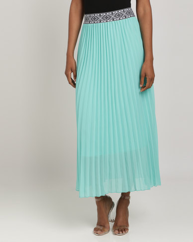 Queenspark Georgia Pleated Woven Skirt Aqua