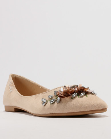 Gino Paoli Microfibre Suede Jewelled Pointy Pump Beige