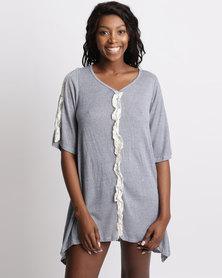 UB Creative Knit Tunic Lace Frill Grey