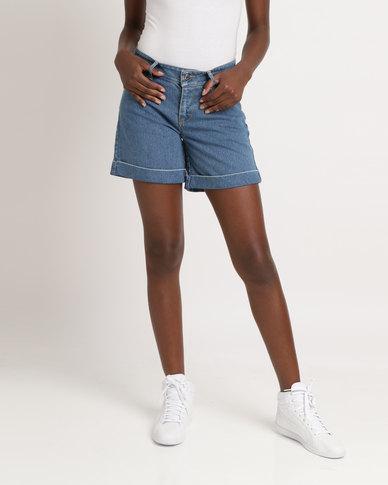 Utopia Basic Denim Shorts Mid Blue