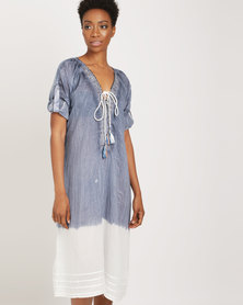 G Couture V neck Beaded Long Length Tunic Blue