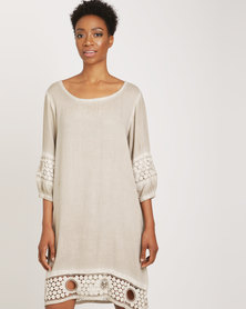 G Couture Back V Neck Dress With Crochet Sleeve And Hem Stone Wash
