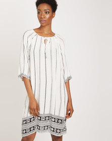 G Couture Vertical Stripe Relaxed Tunic Milk With Black Print