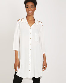 G Couture Button Down Crochet Yoked Tunic Milk