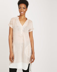 G Couture Dropped Shoulder Dip-Dye Tunic Top Multi