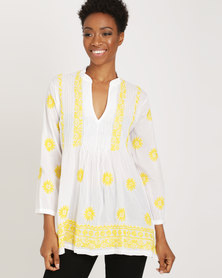 G Couture Cotton Embroidered Tunic White/Yellow