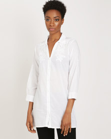 G Couture Long Cotton Shirt With Embroidery White