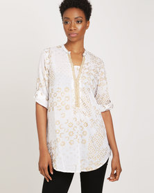 G Couture Foil Printed Top With Beaded Neckline Gold