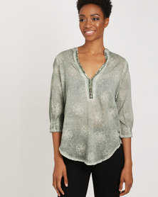 G Couture Beaded Neckline Top Print Green