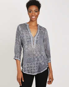 G Couture Beaded Neckline Top Print Blue