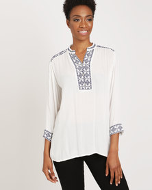 G Couture Embroidered Blouse Milk