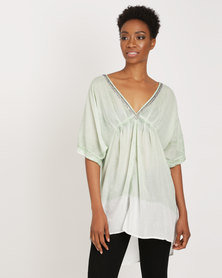 G Couture Dip-Dye Beaded Neckline Tunic Top Green & White
