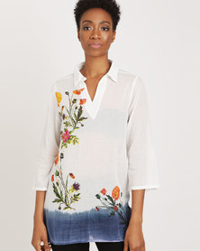 G Couture Printed Shirt With Flower Print And Dip Dyed Hem White