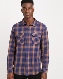 Captain Fin Ted Long Sleeve Flannel Shirt Blue