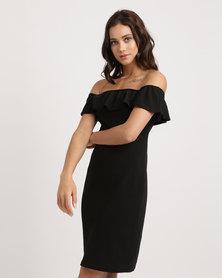Utopia Ponti Bardot Dress With Frill Black