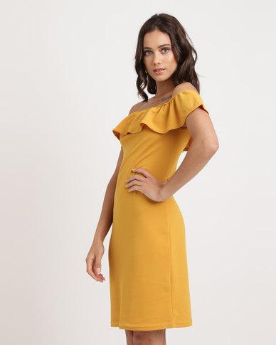 Utopia Ponti Bardot Dress With Frill Ochre Yellow
