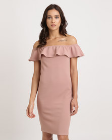 Utopia Ponti Bardot Dress With Frill Nude