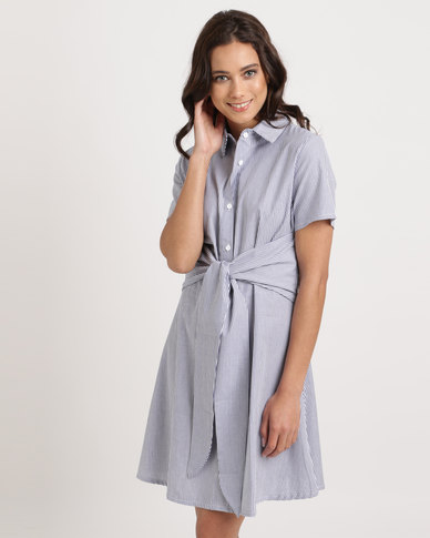 c323e9c5491 Utopia Stripe Tie Front Shirt Dress Navy