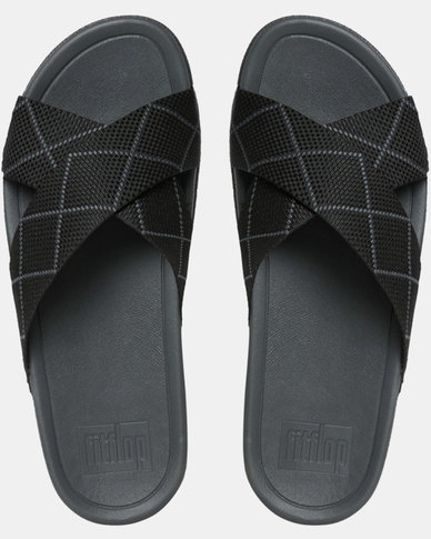 6c0d69d56016bb FitFlop Mens Surfer Dyno Slide Black Dark Slate