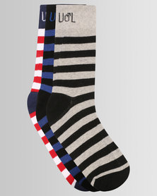 Undeez Online Mens 3 Pack Striped Socks Multi