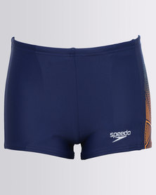 Speedo Star Kick Logo Panel Aquashorts Blue