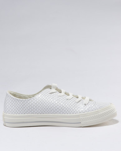10e401007002 Converse Chuck Taylor All Stars Gemma Snake Leather Ox White Grey ...