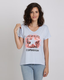Converse Photo Sketch Fill Box Star Femme Tee  Blue