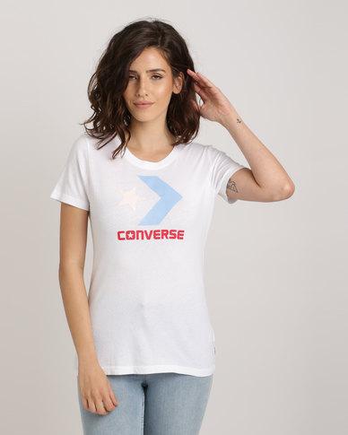 Converse Mesh Star Chevron Crew Tee White